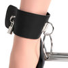 Bondage Boutique Lockable Leather and Steel Spreader Bar with Ankle Cuffs