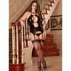 Exposed Liquid Onyx Plus Size Double Keyhole Merry Widow and G-String Set