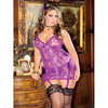 iCollection Plus Size Open-Back Satin and Lace Chemise Set
