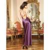 Dreamgirl Full Length Satin Chemise with Scalloped Lace