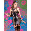 Coquette Darque Wet Look Fishnet Chemise with Back Zip