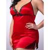 Lovehoney Plus Size Satin and Lace Babydoll Set Red