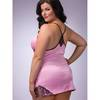 Lovehoney Plus Size Satin and Lace Babydoll Set Pink