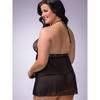 Lovehoney Plus Size Love Me Lace Babydoll and G-String Black