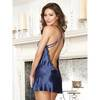 Dreamgirl Satin Chemise with Plunging Sheer Lace Front