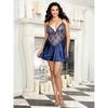 Dreamgirl Plus Size Satin Chemise with Plunging Sheer Lace Front