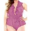 Fantasy Curve Plus Size Halterneck Sheer Purple Playsuit