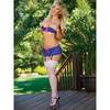 Exposed Luv 1/2 Cup Blue Floral Lace Bra & Suspender Set