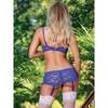 Exposed Plus Size Luv 1/2 Cup Blue Floral Lace Bra & Suspender Set Blue