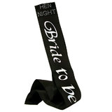 Diamante Bride To Be Black Satin Sash