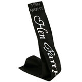 Diamante Hen Party Black Satin Sash