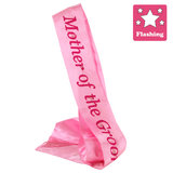 Flashing Mother of the Groom Pink Satin Sash