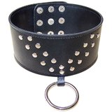 Bondage Boutique Wide Studded Leather O-Ring Slave Collar