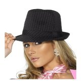 Gangster Trilby Hat with Pink Stripes