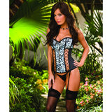 Dreamgirl Snow Leopard Reversible Satin Corset Set