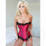 Sweet Streak Satin and Lace Corset Style Bustier with Busk Front