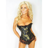 Sweet Streak Royal Brocade Lace-Up Corset Style Bustier Set