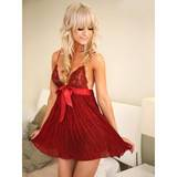 Sweet Streak Pleated Georgette and Lace Babydoll Set