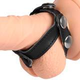 Bondage Boutique Adjustable Leather Cock Ring and Ball Splitter