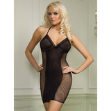 Leg Avenue Fishnet Halter Dress with Opaque Panel