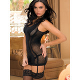 Rene Rofe Seamless Fishnet Chemise with Detachable Garters