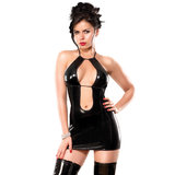Exposed Liquid Onyx Double Keyhole Dress and G-String Set