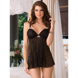 Dreamgirl Sheer Enticement Pleated Chiffon Babydoll