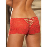 Dreamgirl Stretch Lace-Up Crotchless Short
