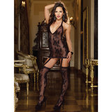 Dreamgirl Black Diamond Stretch Lace Halter Dress Set