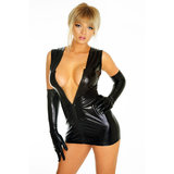 Sweet Streak Exotic Vinyl Mini Dress and Long Glove Set