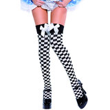 Fever Chequered Thigh High Black And White Stockings with Bow
