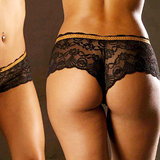 Sensualle Me Esquece Lace French Knickers with Leopard Print Trim