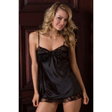 iCollection Plus Size Satin Mini Chemise with Lace Trim