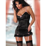 Livia Corsetti Milagros Satin and Sheer Mesh Babydoll and G-String Set