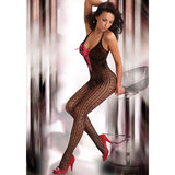 Livia Corsetti Amelie Patterned Crotchless Bodystocking with Ribbon Lacing