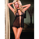 Seven Til Midnight Midnight Fishnet Fly-Away Babydoll and G-String Set
