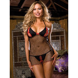 Dreamgirl Red Diamond Plus Size Open Cup Fishnet Chemise and G-String Set