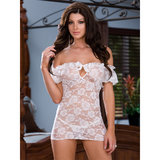 Dreamgirl White Diamond Lace Peasant Chemise and Thong