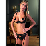 Cottelli 1/4 Cup Bra with Suspender Belt and G-String