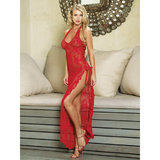 Leg Avenue Floor-Length Chemise with Side Slit and Lacing