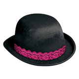 Velvet Burlesque Bowler Hat with Lace