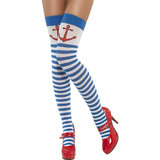 Fever Stripey Sexy Sailor Stockings with Anchor Motif