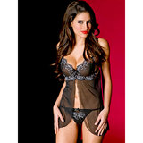 Music Legs Sheer Push-Up Babydoll and G-string Set