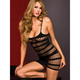Music Legs Striped Diamond Fishnet Mini Dress