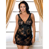 iCollection Plus Size Lace Chemise and Satin Ribbon Ties Set