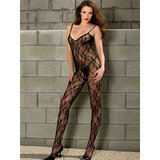 Music Legs Crotchless Lace Plunge-Back Bodystocking
