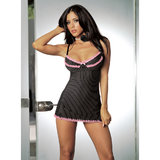 Dreamgirl Striped Underwire Baby Doll Set