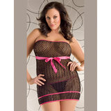 Seven Til Midnight Plus Size Midnight Fishnet Mini Dress