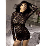 Fantasy Long Sleeve Lace Mini Dress and G-String