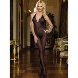 Dreamgirl Sheer Knitted Bodystocking with Bow Detailing